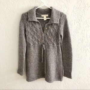 Anthro Kaisely Half Button Collared Sweater Gray S
